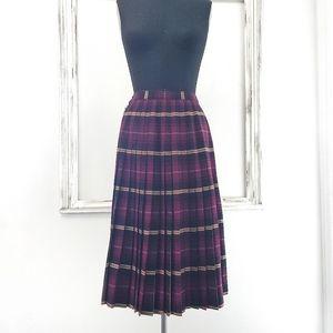 Vintage Y2K Clueless School Girl Plaid Pleated Wrap Wool Midi Skirt